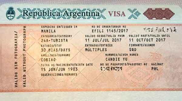 visa of argentina